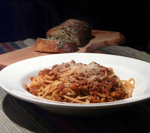 Spaghetti Bolognese with Gorgonzola Garlic Bread